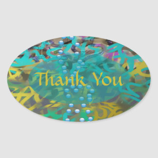 Mixed Pasta Abstract Design Oval Sticker