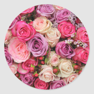 Mixed pastel roses by Therosegarden Classic Round Sticker