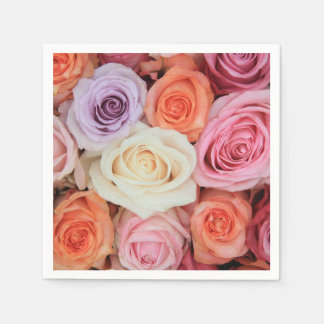 Mixed pastel roses by Therosegarden Standard Cocktail Napkin