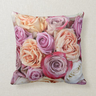Mixed pastel roses pillow