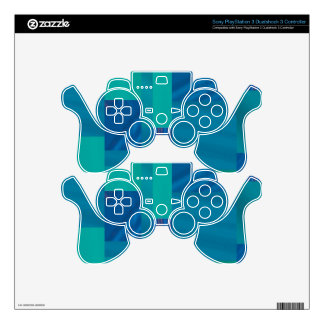 mixed patter, turquoise PS3 controller skin
