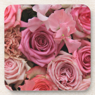 Mixed pink roses by Therosegarden Beverage Coaster