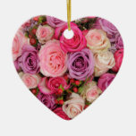 Mixed pink roses by Therosegarden Double-Sided Heart Ceramic Christmas Ornament