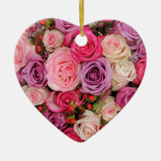 Mixed pink roses by Therosegarden Christmas Tree Ornament