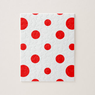 Mixed Polka Dots - Red on White Jigsaw Puzzle