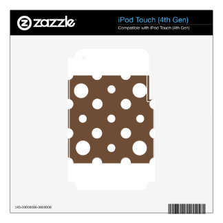 Mixed Polka Dots - White on Coffee Decal For iPod Touch 4G