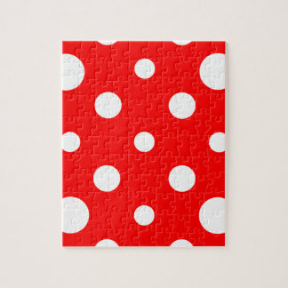 Mixed Polka Dots - White on Red Jigsaw Puzzle
