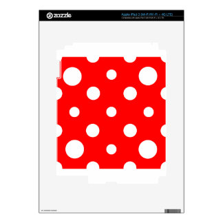Mixed Polka Dots - White on Red Skins For iPad 3