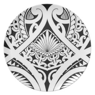 e6ac5f43eca12 mixed polynesian maori tribal tattoo coconut leaf plate