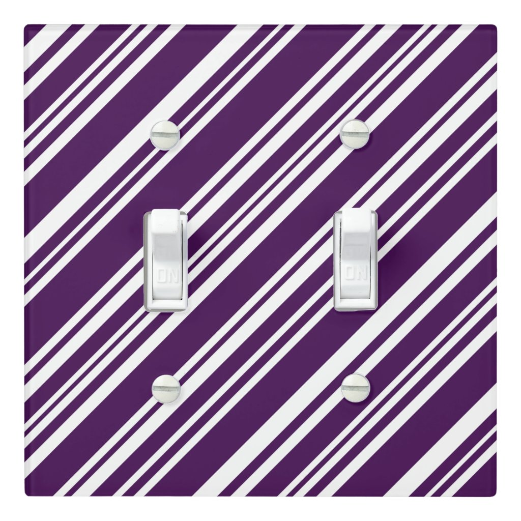 Mixed Purple and White Angled Stripes Light Switch Cover