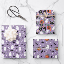 Mixed Purple Halloween Patterns Ghost Pumpkin Bat Wrapping Paper Sheets
