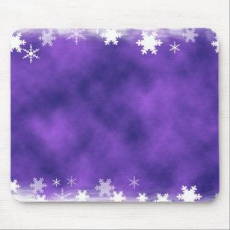 MIXED PURPLE SWIRLS WHITE SNOWFLAKES SATIN WINTER MOUSE PAD