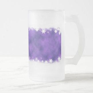 MIXED PURPLE SWIRLS WHITE SNOWFLAKES SATIN WINTER COFFEE MUG