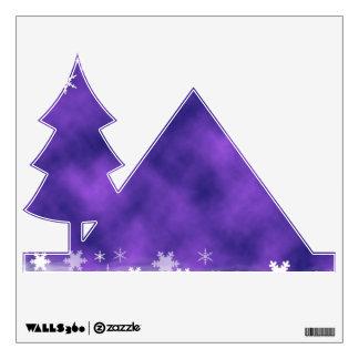 MIXED PURPLE SWIRLS WHITE SNOWFLAKES SATIN WINTER WALL DECAL