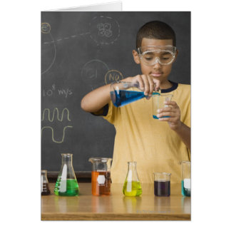 Mixed Race boy in science class Card
