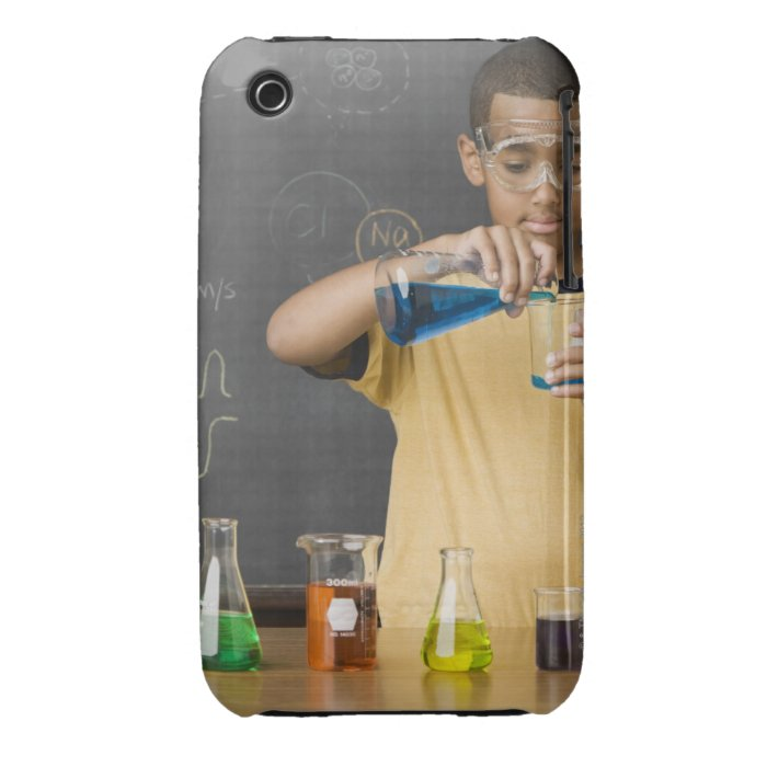 Mixed Race boy in science class Case-Mate iPhone 3 Case