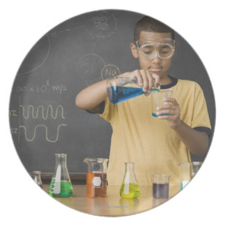 Mixed Race boy in science class Dinner Plate