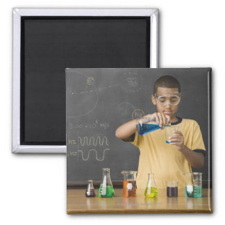 Mixed Race boy in science class Magnet