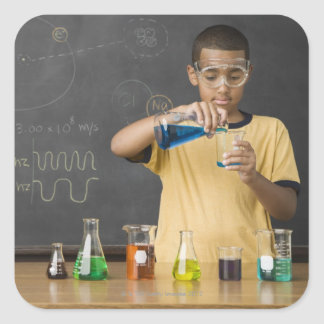 Mixed Race boy in science class Square Sticker