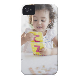 Mixed race girl playing with alphabet cards iPhone 4 Case-Mate case