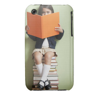 Mixed race girl sitting on stack of books Case-Mate iPhone 3 case