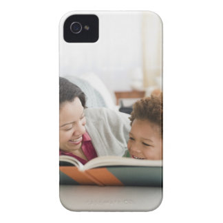 Mixed race mother reading book to son Case-Mate iPhone 4 case