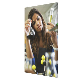 Mixed Race teenaged girl in science class Canvas Print