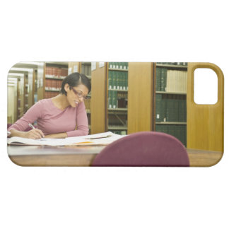Mixed race woman doing research in library iPhone SE/5/5s case