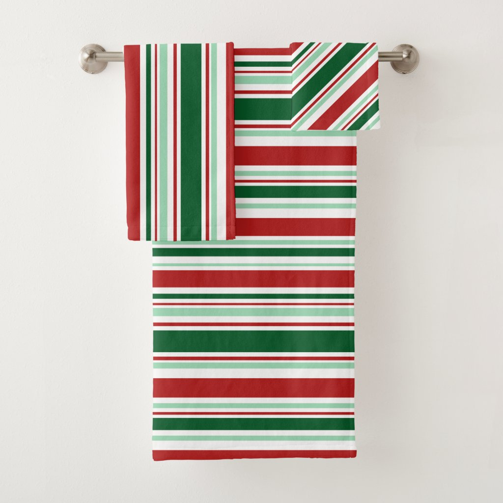 Mixed Red, Green, White Christmas Stripes Bath Towel Set