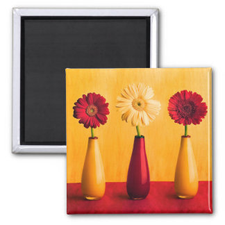 Mixed Red Yellow Gerbera Daisies Orange Background 2 Inch Square Magnet