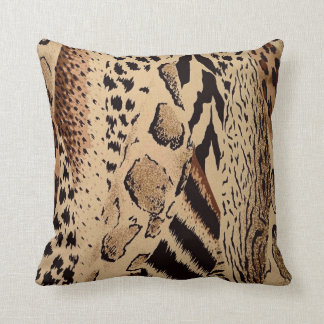 Mixed safari print throw pillow