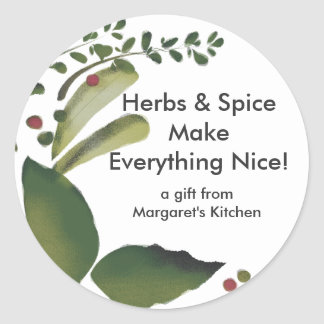 Mixed savory herbs gift tag stickers, Herbs & S...