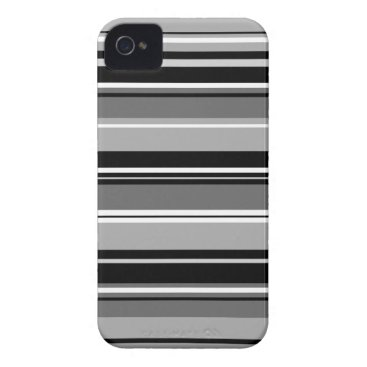 Mixed Striped Pattern Black White Grays Case-Mate iPhone 4 Case