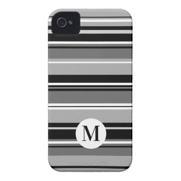 Mixed Striped Pattern Black White Grays (Initial) Case-Mate iPhone 4 Case