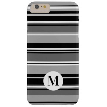 Mixed Striped Pattern Black White Grays (Initial) Barely There iPhone 6 Plus Case