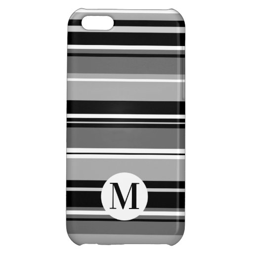 Mixed Striped Pattern Black White Grays (Initial) Case For iPhone 5C
