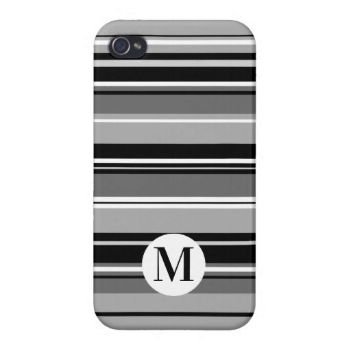 Mixed Striped Pattern Black White Grays (Initial) Case For iPhone 4
