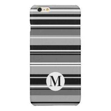 Mixed Striped Pattern Black White Grays (Initial) Glossy iPhone 6 Plus Case