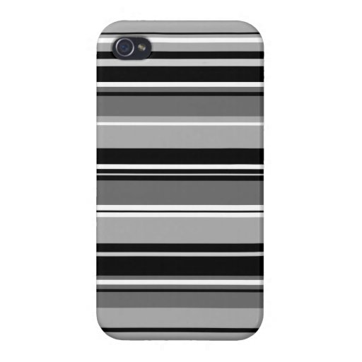 Mixed Striped Pattern Black White Grays Case For iPhone 4