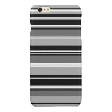 Mixed Striped Pattern Black White Grays Glossy iPhone 6 Plus Case