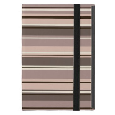 Mixed Striped Pattern Browns Taupe Creams Case For iPad Mini