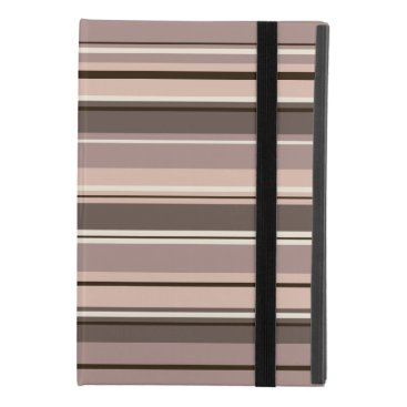 Mixed Striped Pattern Browns Taupe Creams iPad Mini 4 Case