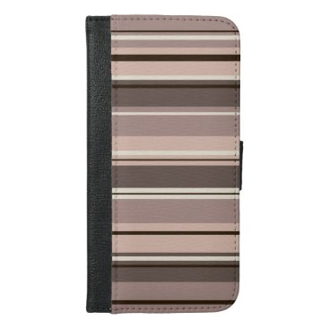 Mixed Striped Pattern Browns Taupe Creams iPhone 6/6s Plus Wallet Case