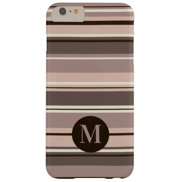 Mixed Striped Pattern Browns Taupe Crms (Initial) Barely There iPhone 6 Plus Case