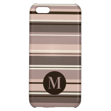 Mixed Striped Pattern Browns Taupe Crms (Initial) Case For iPhone 5C