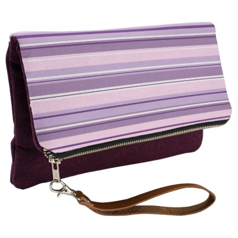Mixed Striped Pattern Pinks Purples White Clutch