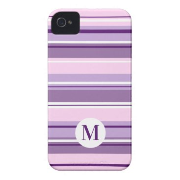 Mixed Striped Pattern Pinks Purples White(Initial) Case-Mate iPhone 4 Case