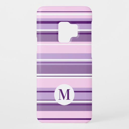 Mixed Striped Pattern Pinks Purples White(Initial) Case-Mate Samsung Galaxy S9 Case