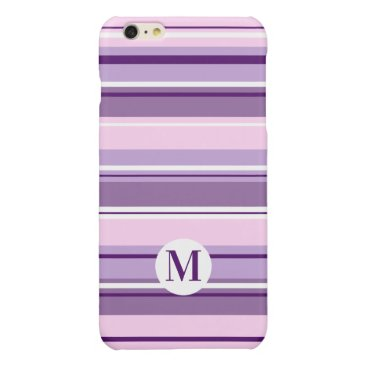 Mixed Striped Pattern Pinks Purples White(Initial) Glossy iPhone 6 Plus Case