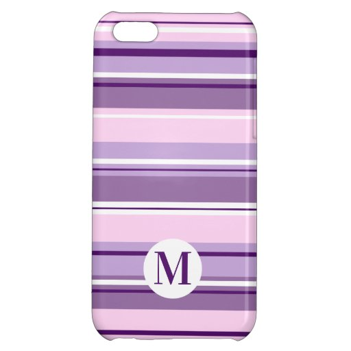 Mixed Striped Pattern Pinks Purples White(Initial) Case For iPhone 5C